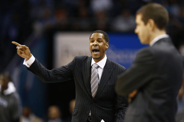 Apr 8, 2017; Charlotte, NC, USA; Charlotte Hornets assistant coach Stephen Silas reacts to a call in the second half against the Boston Celtics at Spectrum Center. The Celtics defeated the Hornets 121-114.