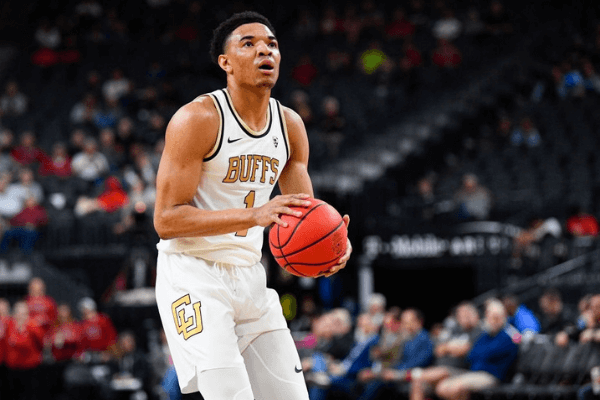 Colorado Buffaloes guard Tyler Bey (1) shoots a free throw during the first round game of the men's Pac-12 Tournament between the Colorado Buffaloes and the Washington State Cougars on March 11, 2020, at the T-Mobile Arena in Las Vegas, NV.