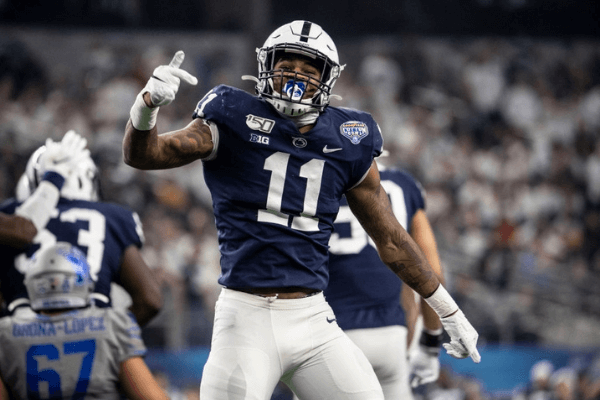 Micah Parsons #11 of the Penn State Nittany Lions reacts during the Goodyear Cotton Bowl Classic at AT&T Stadium on December 28, 2019 in Arlington, Texas