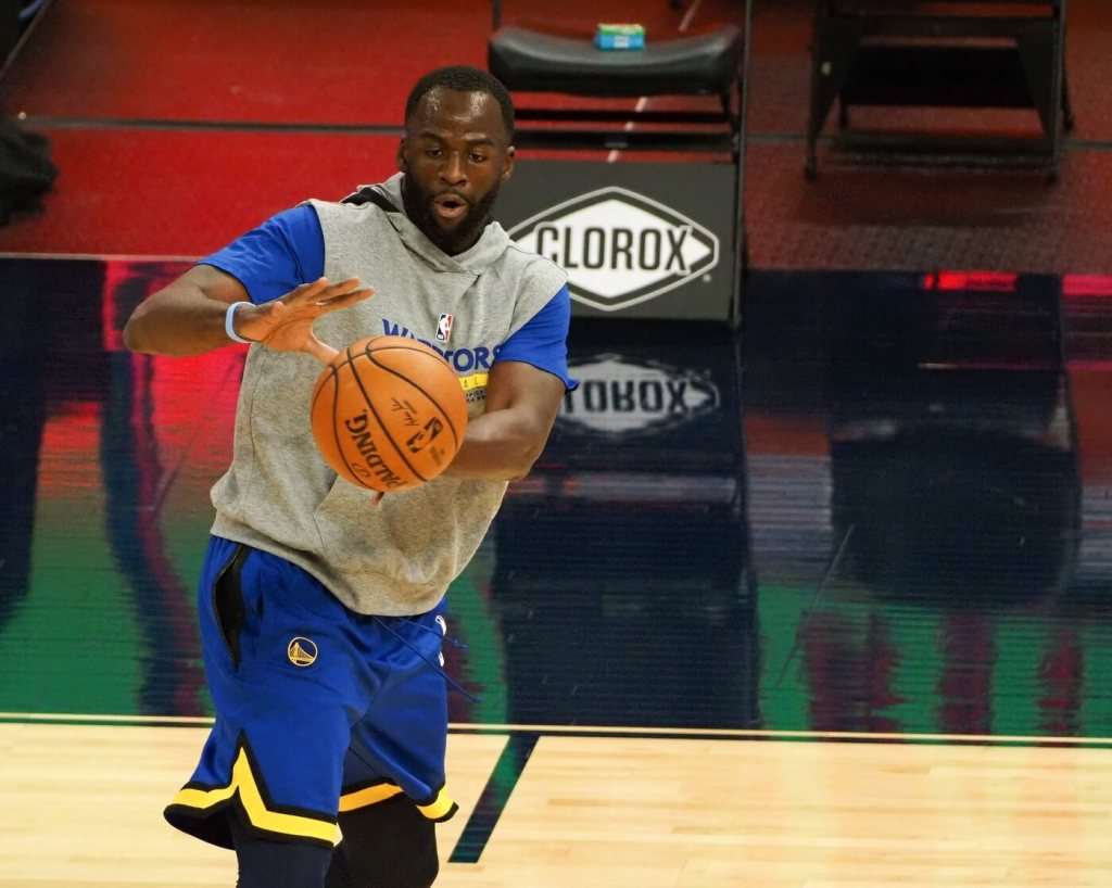Jan 20, 2021; San Francisco, California, USA; Golden State Warriors forward Draymond Green (23) warms up before the game against the San Antonio Spurs at Chase Center. Mandatory Credit: Kelley L Cox-USA TODAY Sports