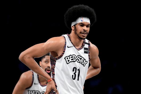 Jarrett Allen of the Brooklyn Nets looks on