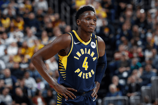 Indiana Pacers Victor Oladipo looks on