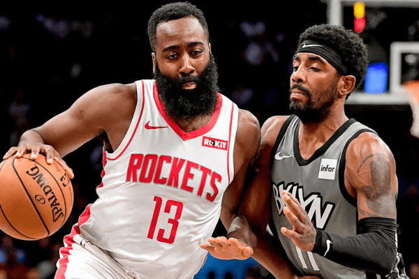 James Harden battles with Kyrie Irving