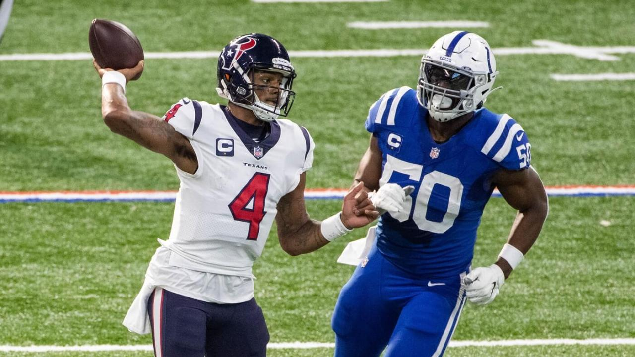 Houston Texans quarterback Deshaun Watson (4) throws a pass during the first half against the Indianapolis Colts at Lucas Oil Stadium.