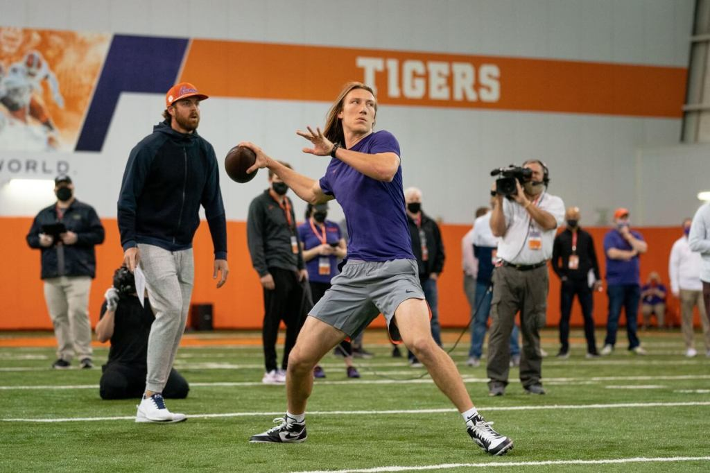 Clemson Tigers quarterback Trevor Lawrence works out during Pro Day in Clemson, South Carolina.