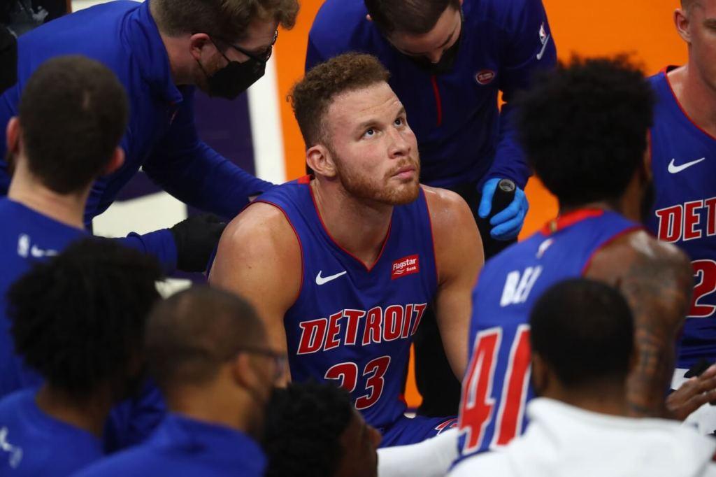 Feb 5, 2021; Phoenix, Arizona, USA; Detroit Pistons forward Blake Griffin (23) against the Phoenix Suns at Phoenix Suns Arena. Mandatory Credit: Mark J. Rebilas-USA TODAY Sports