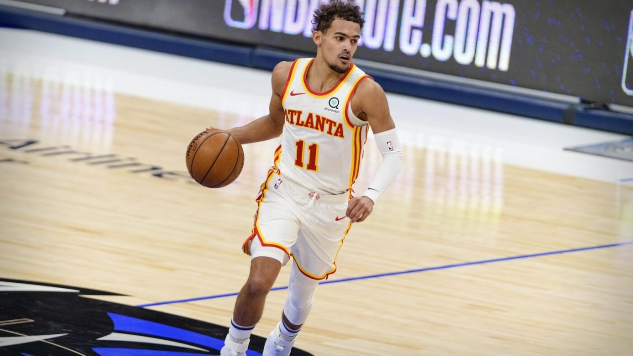Feb 10, 2021; Dallas, Texas, USA; Atlanta Hawks guard Trae Young (11) in action during the game between the Dallas Mavericks and the Atlanta Hawks at the American Airlines Center. Mandatory Credit: Jerome Miron-USA TODAY Sports