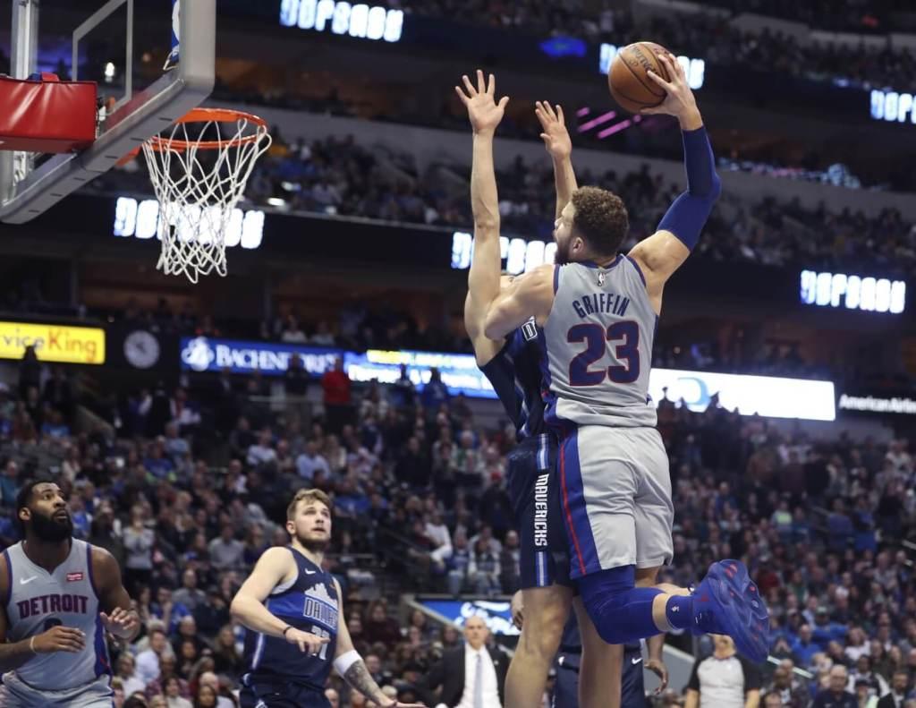 Jan 25, 2019; Dallas, TX, USA; Detroit Pistons forward Blake Griffin (23) dunks over Dallas Mavericks forward Maximilian Kleber (42) during the fourth quarter at American Airlines Center. Mandatory Credit: Kevin Jairaj-USA TODAY Sport