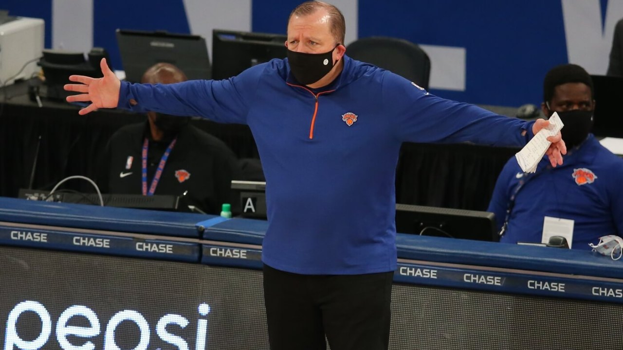Jan 31, 2021; New York, New York, USA; New York Knicks head coach Tom Thibodeau reacts as he coaches against the LA Clippers during the second quarter at Madison Square Garden. Mandatory Credit: Brad Penner-USA TODAY Sports