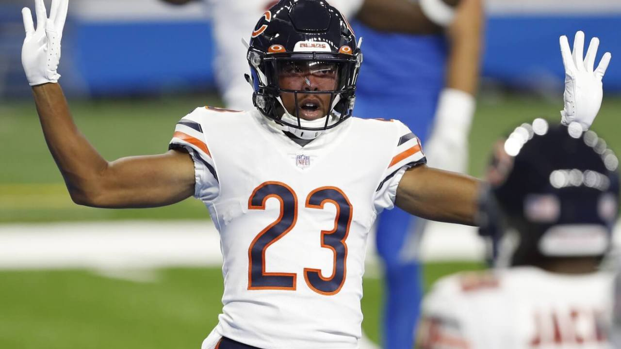 Chicago Bears cornerback Kyle Fuller (23) puts his hands up after a play during the first quarter against the Detroit Lions at Ford Field.