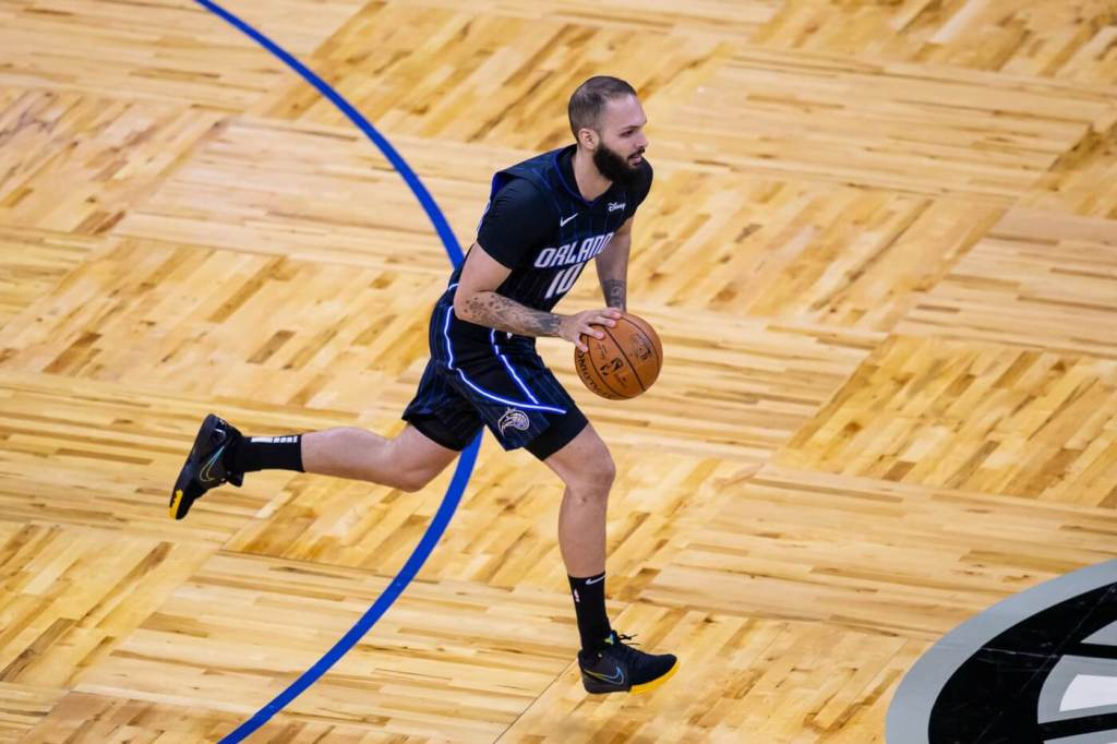 Orlando Magic guard Evan Fournier (10) brings the ball up court during the first quarter of a game between the Orlando Magic and the Utah Jazz at Amway Center.
