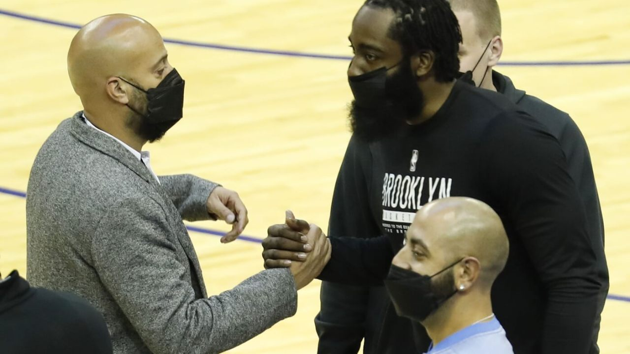 James Harden #13 of the Brooklyn Nets meets with Houston Rockets general manaer Rafeal Stone at Toyota Center on March 03, 2021 in Houston, Texas.