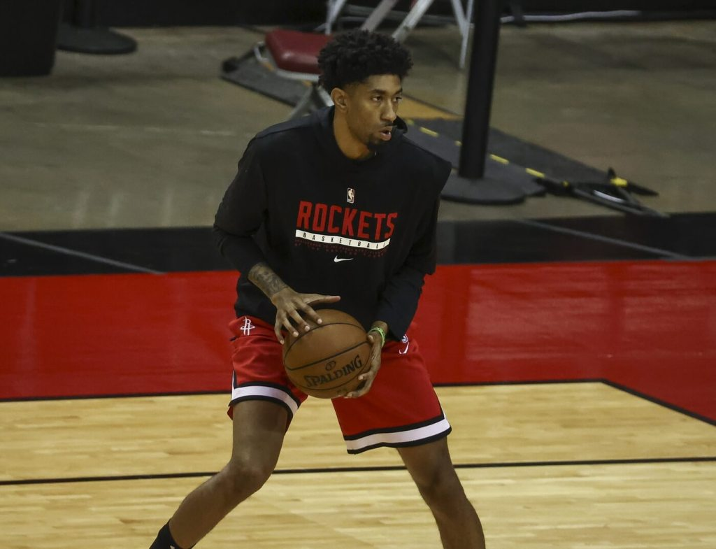 Houston Rockets center Christian Wood (35) warms up before a game against the Charlotte Hornets at Toyota Center.