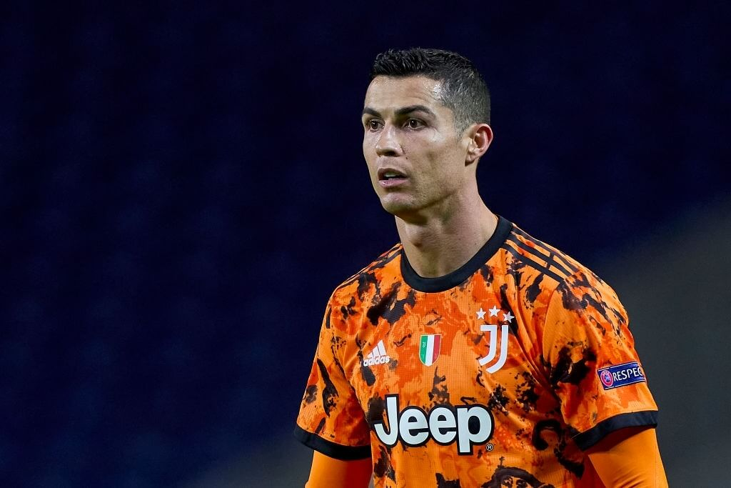 PORTO, PORTUGAL - FEBRUARY 17:  Cristiano Ronaldo of Juventus looks on during the UEFA Champions League Round of 16 match between FC Porto and Juventus at Estadio do Dragao on February 17, 2021 in Porto, Portugal. Sporting stadiums around Portugal remain under strict restrictions due to the Coronavirus Pandemic as Government social distancing laws prohibit fans inside venues resulting in games being played behind closed doors. (Photo by Jose Manuel Alvarez/Quality Sport Images/Getty Images)