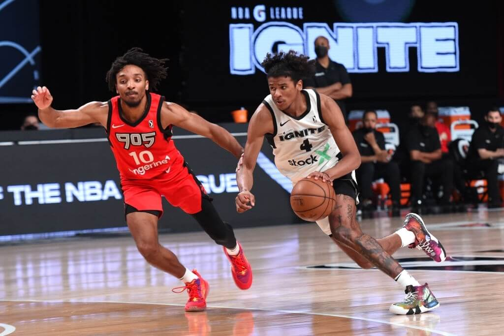 Jalen Green #4 of Team Ignite drives to the basket against the Raptors 905 during the NBA G League Playoffs on March 8, 2021 at AdventHealth Arena in Orlando, Florida.