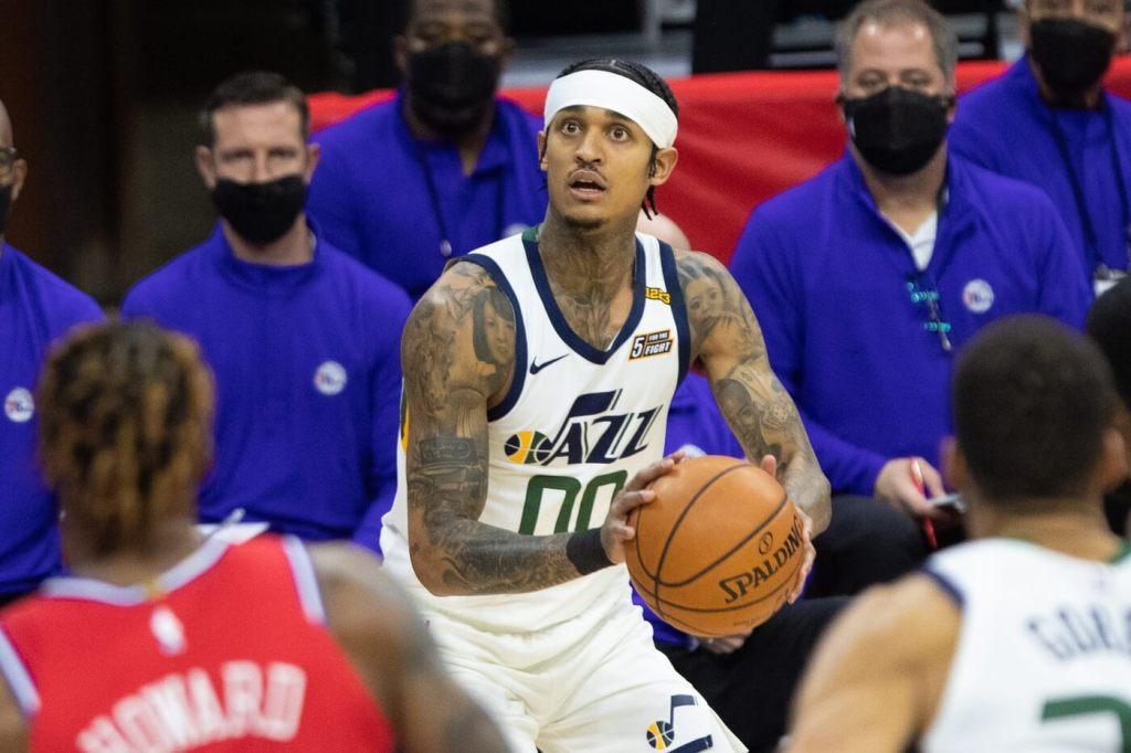 Mar 3, 2021; Philadelphia, Pennsylvania, USA; Utah Jazz guard Jordan Clarkson (00) shoots against the Philadelphia 76ers during the second quarter at Wells Fargo Center. Mandatory Credit: Bill Streicher-USA TODAY Sports