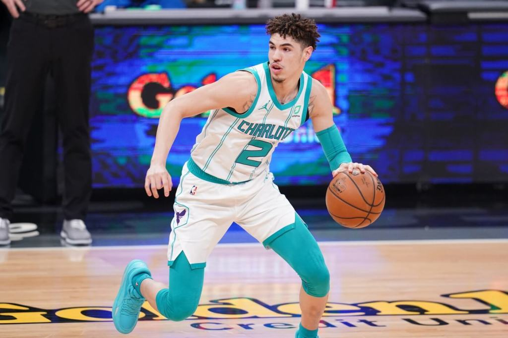 Feb 28, 2021; Sacramento, California, USA; Charlotte Hornets guard LaMelo Ball (2) dribbles the ball against the Sacramento Kings in the first quarter at the Golden 1 Center. Mandatory Credit: Cary Edmondson-USA TODAY Sports