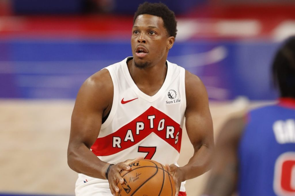 Mar 17, 2021; Detroit, Michigan, USA; Toronto Raptors guard Kyle Lowry (7) shoots the ball against the Detroit Pistons during the first quarter at Little Caesars Arena. Mandatory Credit: Raj Mehta-USA TODAY Sports