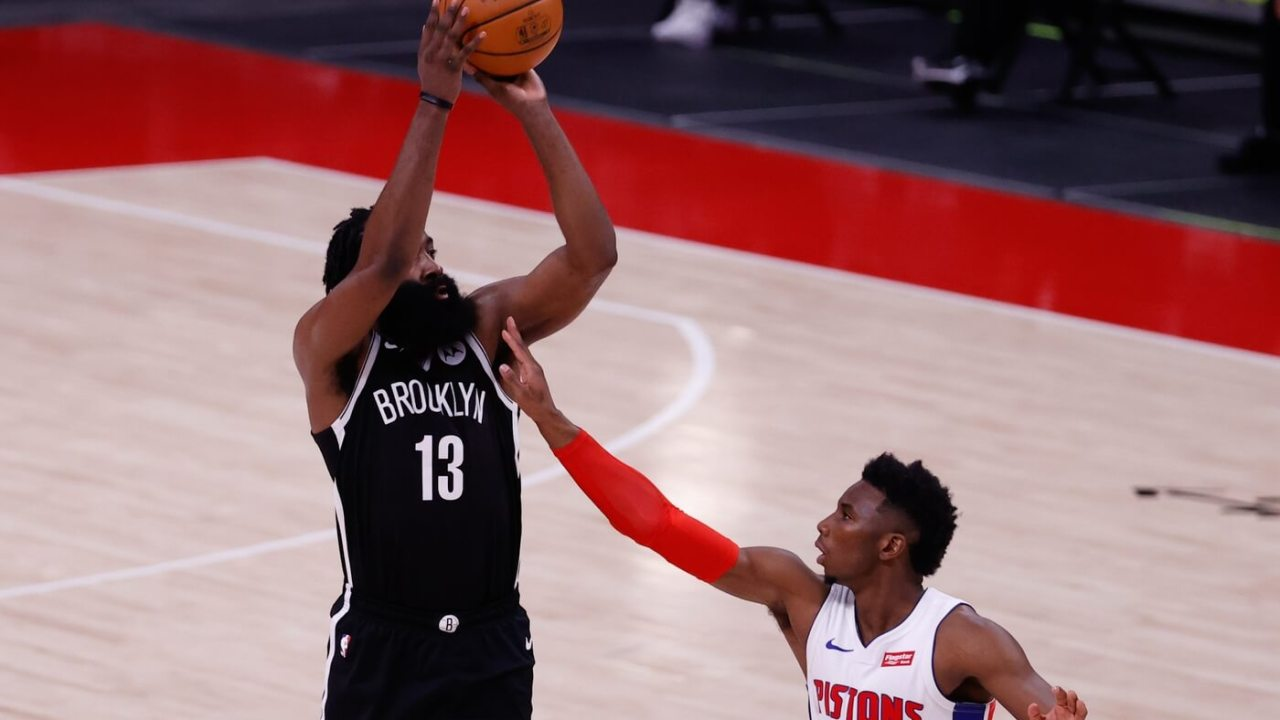Mar 26, 2021; Detroit, Michigan, USA; Brooklyn Nets guard James Harden (13) shoots over Detroit Pistons guard Hamidou Diallo (6) in the second half at Little Caesars Arena. Mandatory Credit: Rick Osentoski-USA TODAY Sports