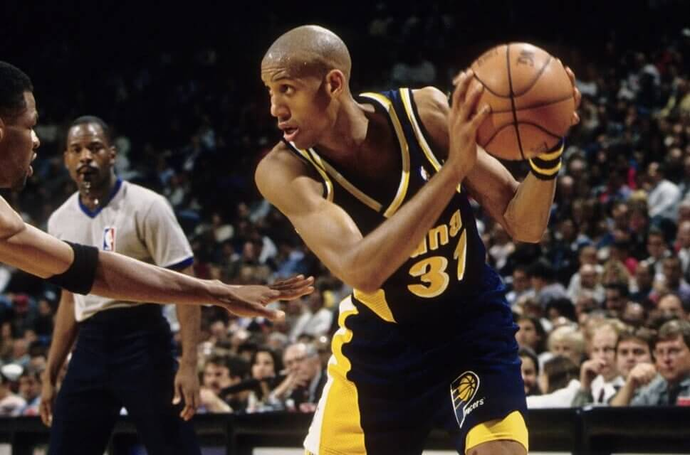 Unknown date; Miami, FL, USA; FILE PHOTO; Indiana Pacers guard Reggie Miller (31) in action against the Miami Heat at the Miami Arena. Mandatory Credit: USA TODAY Sports