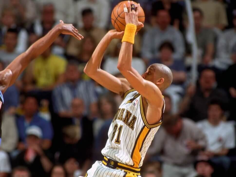 Unknown date 1999; Unknown location, USA; FILE PHOTO; Indiana Pacers guard Reggie Miller (31) during the 1999 season at Conseco Fieldhouse. Mandatory Credit: Brian Spurlock-USA TODAY Sports