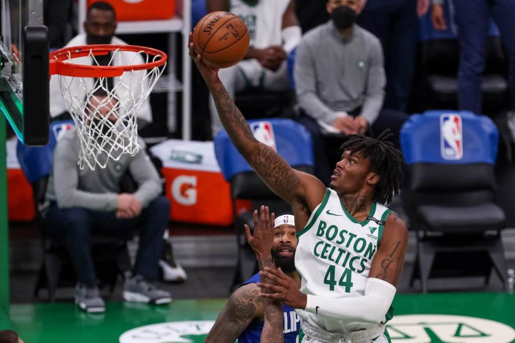 Mar 2, 2021; Boston, Massachusetts, USA; Boston Celtics center Robert Williams III (44) goes to the basket during the first half against the Los Angeles Clippers at TD Garden. Mandatory Credit: Paul Rutherford-USA TODAY Sports