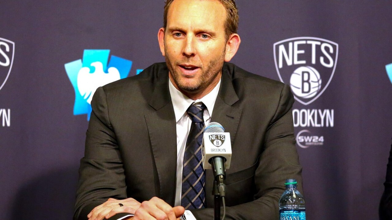 Mar 24, 2016; Brooklyn, NY, USA; Sean Marks general manager of the Brooklyn Nets talks at a press conference announcing the Long Island Nets D League team before the game against the Cleveland Cavaliers at Barclays Center. Mandatory Credit: Anthony Gruppuso-USA TODAY Sports