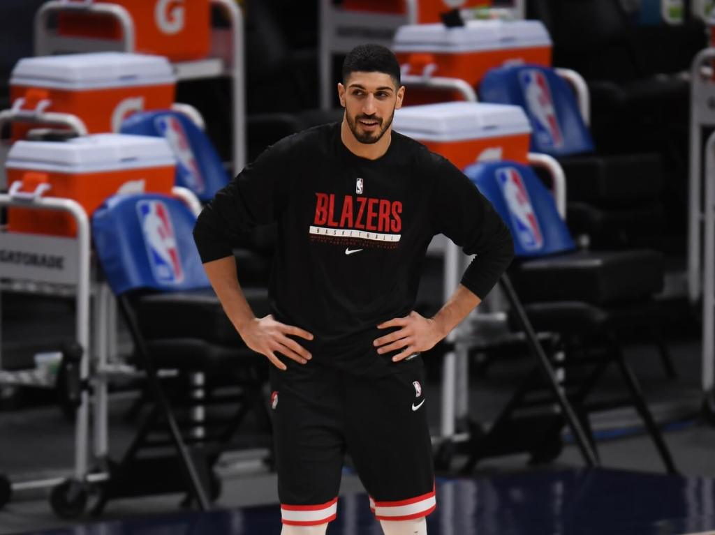 Feb 23, 2021; Denver, Colorado, USA; Portland Trail Blazers center Enes Kanter (11) warms up before the game against the Denver Nuggets at Ball Arena. Mandatory Credit: Ron Chenoy-USA TODAY Sports
