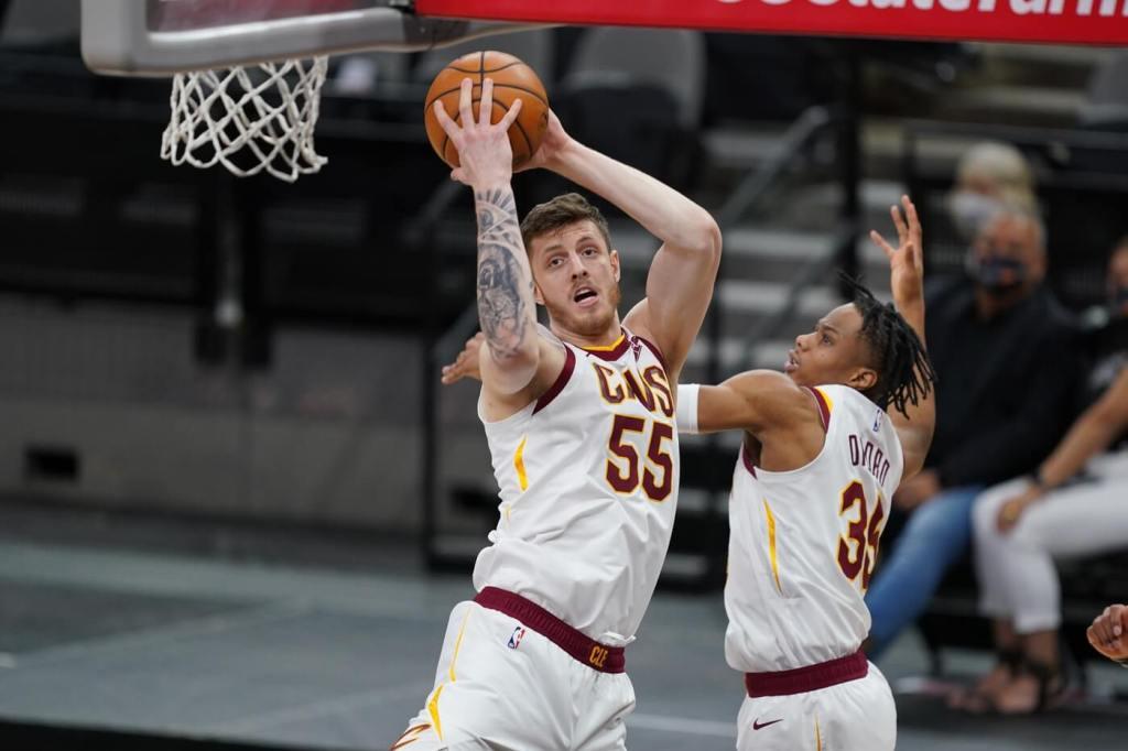 Apr 5, 2021; San Antonio, Texas, USA; Cleveland Cavaliers center Isaiah Hartenstein (55) rebounds in the first quarter against the San Antonio Spurs at the AT&T Center. Mandatory Credit: Daniel Dunn-USA TODAY Sports