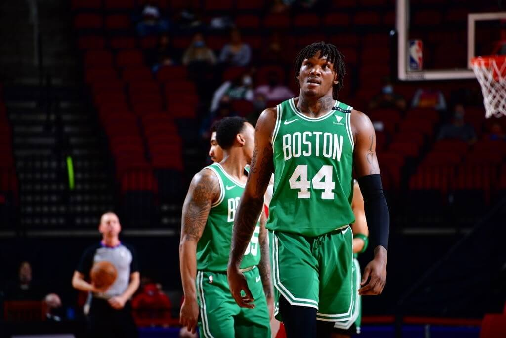 HOUSTON, TX - MARCH 14: Robert Williams III #44 of the Boston Celtics looks on during the game against the Houston Rockets on March 14, 2021 at the Toyota Center in Houston, Texas. NOTE TO USER: User expressly acknowledges and agrees that, by downloading and or using this photograph, User is consenting to the terms and conditions of the Getty Images License Agreement. Mandatory Copyright Notice: Copyright 2021 NBAE (Photo by Cato Cataldo/NBAE via Getty Images)