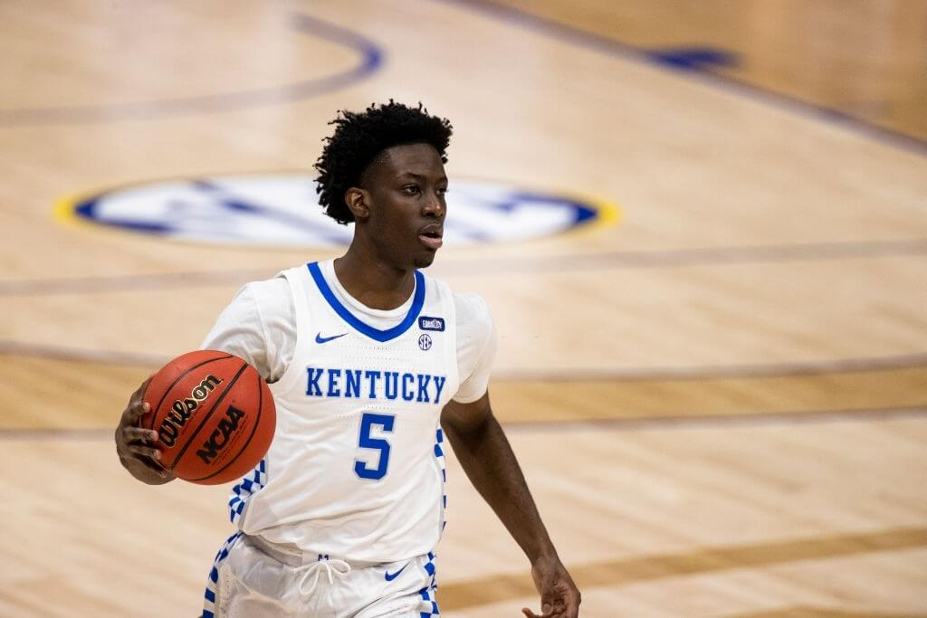 NASHVILLE, TN - MARCH 11: Terrence Clarke #5 of the Kentucky Wildcats dribbles the ball at half court against the Mississippi State Bulldogs during the first half of their second round game in the SEC Men's Basketball Tournament at Bridgestone Arena on March 11, 2021 in Nashville, Tennessee. (Photo by Brett Carlsen/Getty Images)