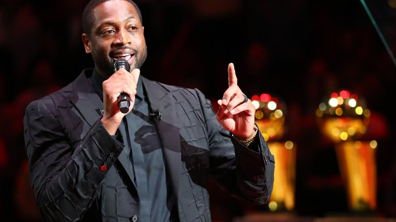 Feb 22, 2020; Miami, Florida, USA; Miami Heat former player Dwyane Wade speaks during his jersey retirement celebration at American Airlines Arena. Mandatory Credit: Kim Klement-USA TODAY Sports