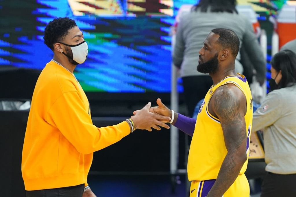 March 15, 2021; San Francisco, California, USA; Los Angeles Lakers forward Anthony Davis (3, left) and forward LeBron James (23, right) before the game against the Golden State Warriors at Chase Center. Mandatory Credit: Kyle Terada-USA TODAY Sports