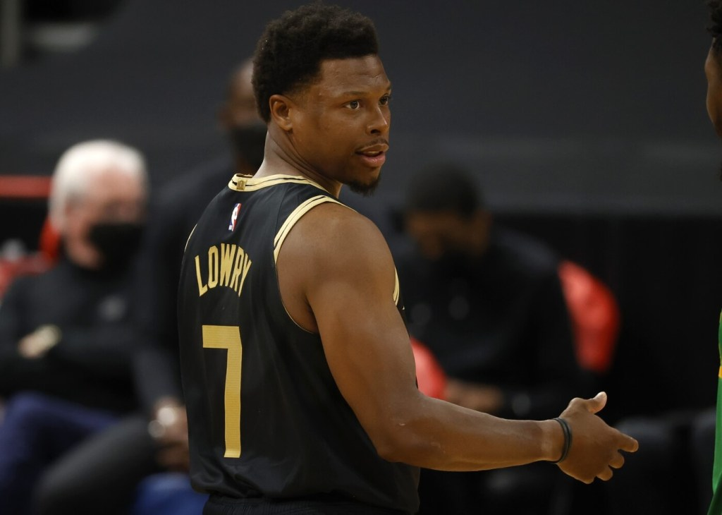 Mar 19, 2021; Tampa, Florida, USA; Toronto Raptors guard Kyle Lowry (7) against the Utah Jazz during the first quarter at Amalie Arena. Mandatory Credit: Kim Klement-USA TODAY Sports