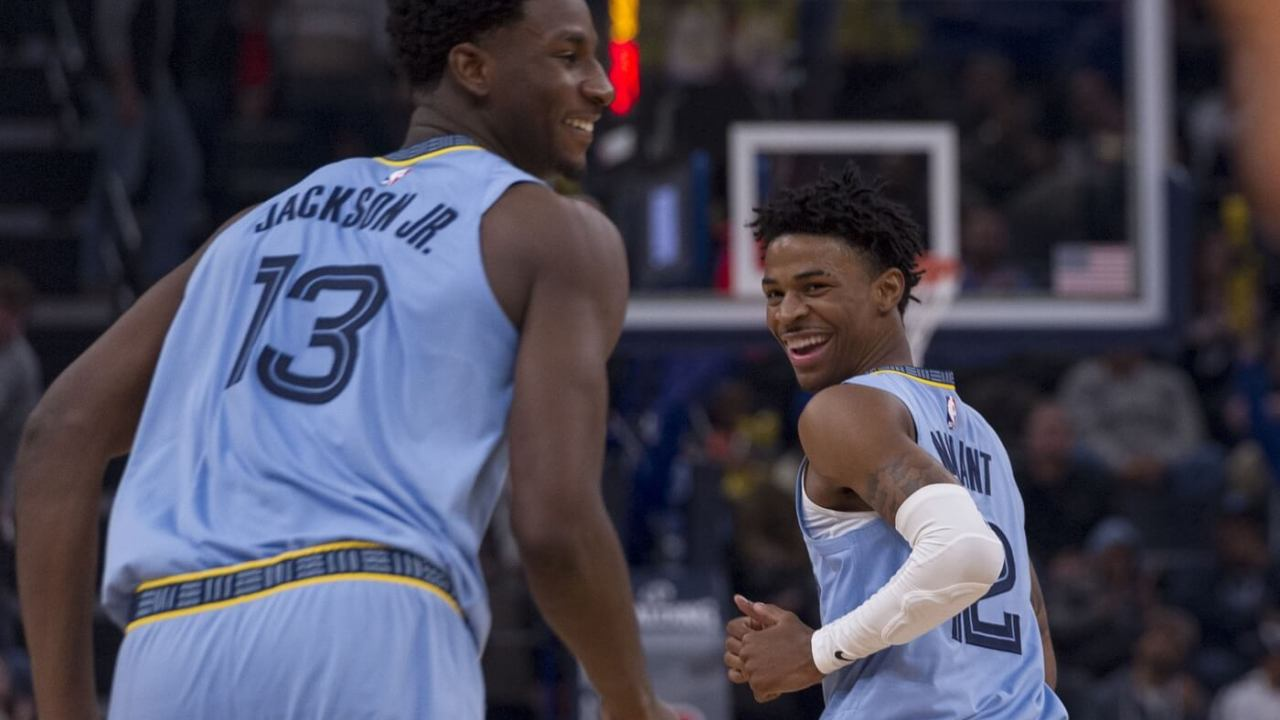 Nov 15, 2019; Memphis, TN, USA; Memphis Grizzlies forward Jaren Jackson Jr. (13) and Memphis Grizzlies guard Ja Morant (12) during the first half against the Utah Jazz at FedExForum. Mandatory Credit: Justin Ford-USA TODAY Sports