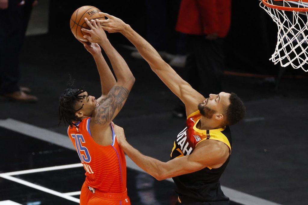 Apr 13, 2021; Salt Lake City, Utah, USA; Oklahoma City Thunder forward Josh Hall (15) has his shot blocked by Utah Jazz center Rudy Gobert (27) at Vivint Smart Home Arena. Mandatory Credit: Jeffrey Swinger-USA TODAY Sports