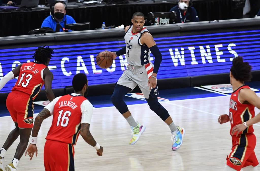 Apr 16, 2021; Washington, District of Columbia, USA; Washington Wizards guard Russell Westbrook (4) dribbles against the New Orleans Pelicans during the second quarter at Capital One Arena. Mandatory Credit: Brad Mills-USA TODAY Sports