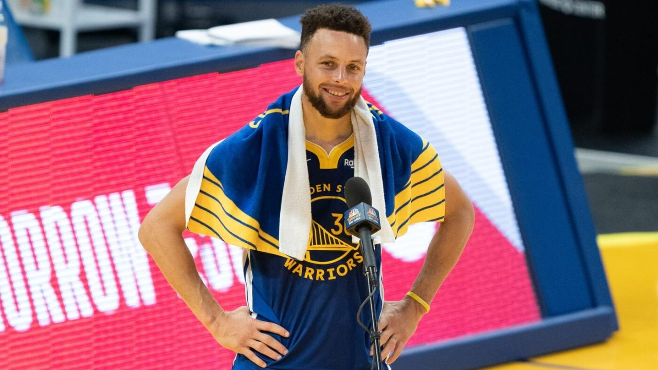 April 12, 2021; San Francisco, California, USA; Golden State Warriors guard Stephen Curry (30) after the game against the Denver Nuggets at Chase Center. Mandatory Credit: Kyle Terada-USA TODAY Sports