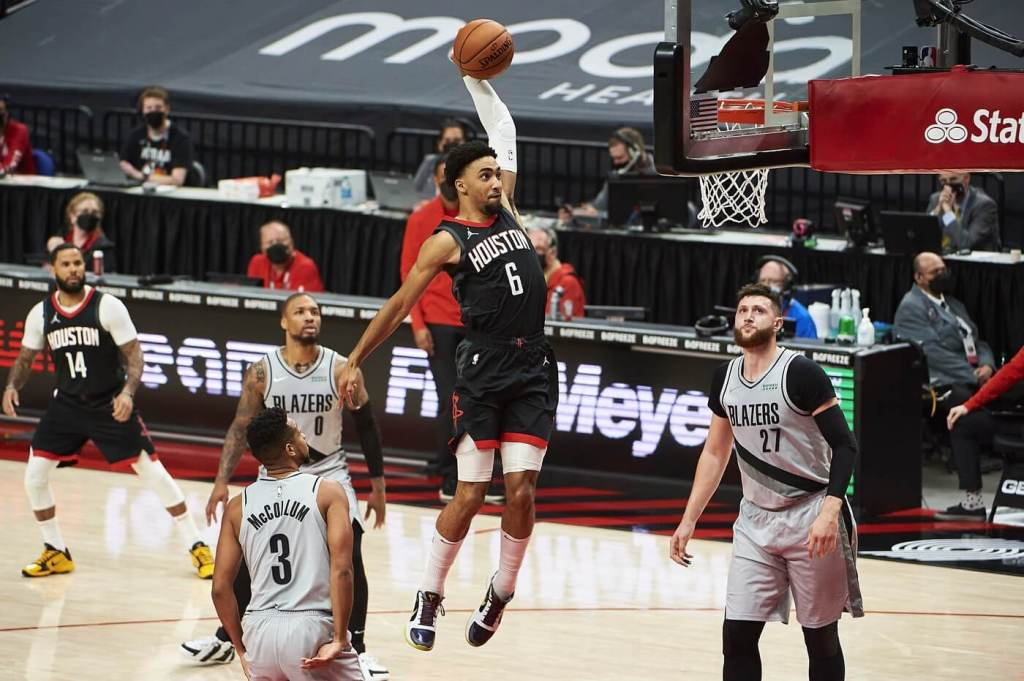 Houston Rockets forward Kenyon Martin Jr. (6) dunks the basketball during the first half against the Portland Trail Blazers at Moda Center.