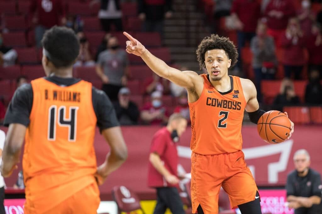 NORMAN, OK - FEBRUARY 27: Oklahoma State Cowboys guard Cade Cunningham (2) calls a play during overtime against the Oklahoma Sooners on February 27th, 2021 at Lloyd Noble Center in Norman Oklahoma. (Photo by William Purnell/Icon Sportswire via Getty Images)