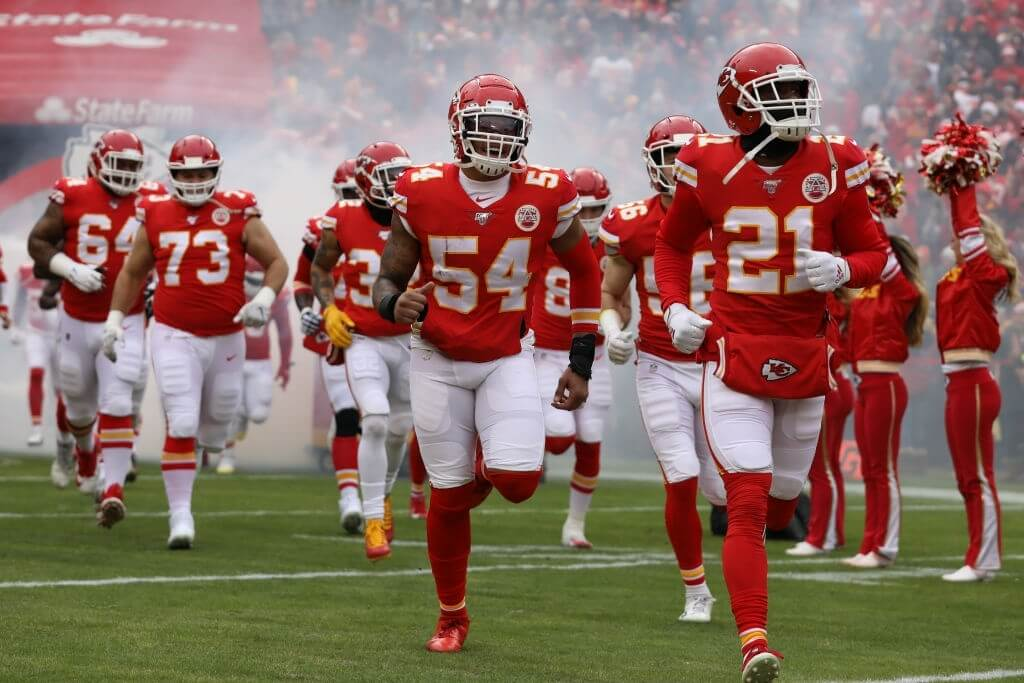 KANSAS CITY, MO - DECEMBER 29: The Kansas City Chiefs run onto the field before an AFC West game between the Los Angeles Chargers and Kansas City Chiefs on December 29, 2019 at Arrowhead Stadium in Kansas City, MO. (Photo by Scott Winters/Icon Sportswire via Getty Images)