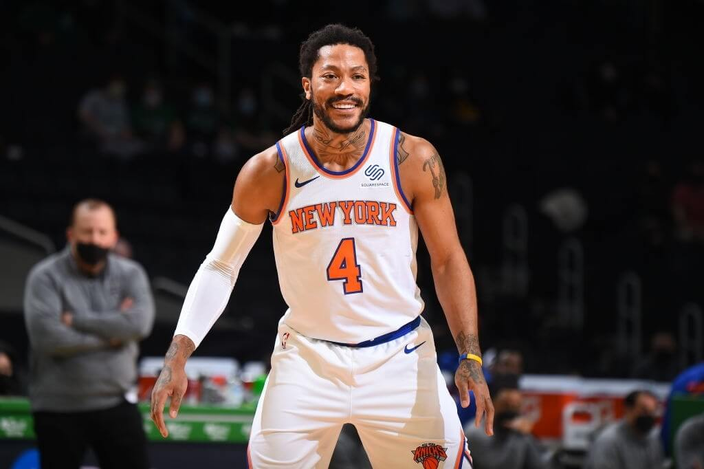 BOSTON, MA - APRIL 7: Derrick Rose #4 of the New York Knicks smiles during the game against the Boston Celtics on April 7, 2021 at the TD Garden in Boston, Massachusetts. NOTE TO USER: User expressly acknowledges and agrees that, by downloading and or using this photograph, User is consenting to the terms and conditions of the Getty Images License Agreement. Mandatory Copyright Notice: Copyright 2021 NBAE (Photo by Brian Babineau/NBAE via Getty Images)