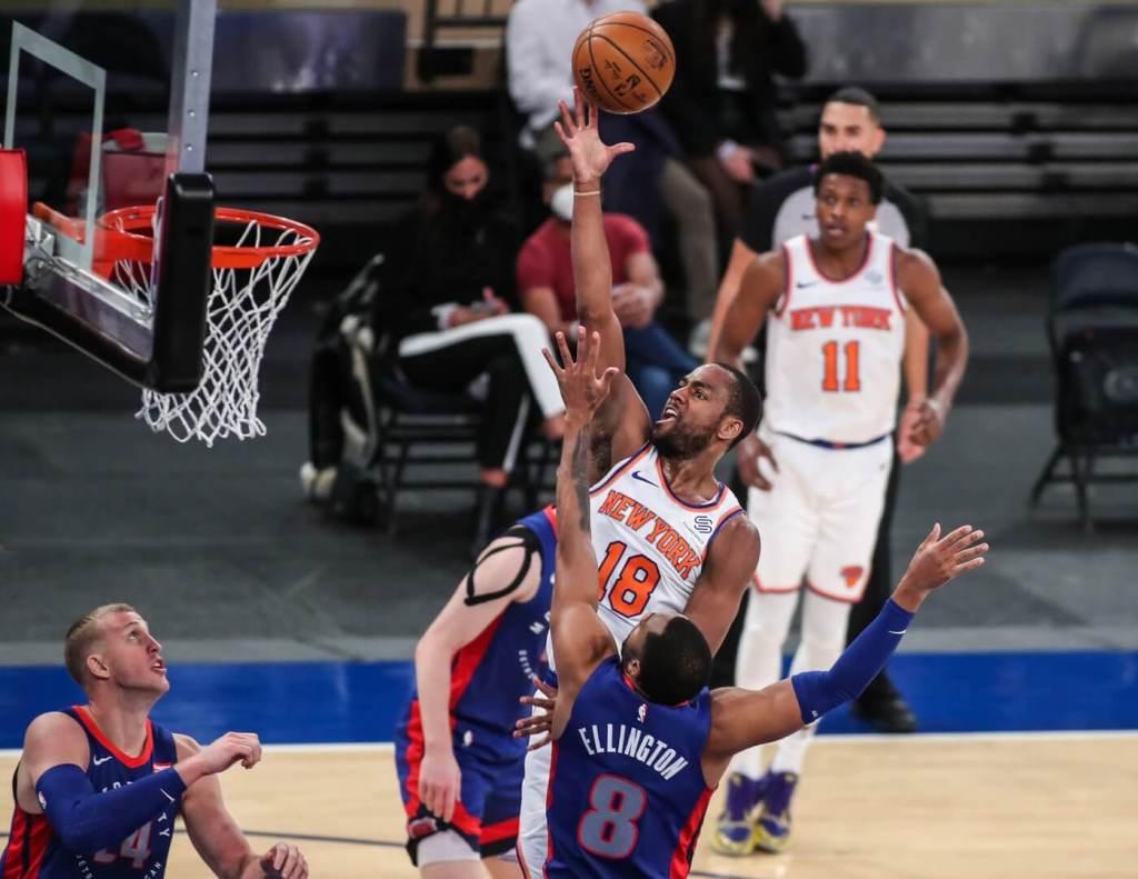 Mar 4, 2021; New York, New York, USA; New York Knicks guard Alec Burks (18) at Madison Square Garden. Mandatory Credit: Wendell Cruz-USA TODAY Sports