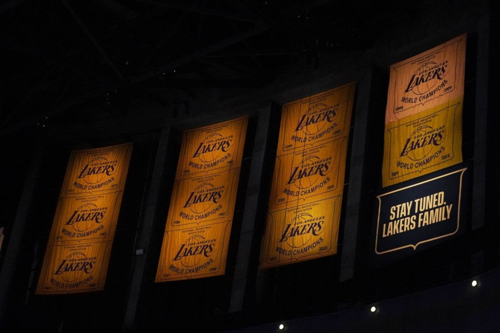 Feb 26, 2021; Los Angeles, California, USA; Los Angeles Lakers championship banners from the 1971-72, 1979-80, 1981-82, 1984-85, 1986-87, 1987-88, 1999-2000, 2000-01, 2001-02, 2008-09 and 2009-10 seasons on display at Staples Center. Mandatory Credit: Kirby Lee-USA TODAY Sports