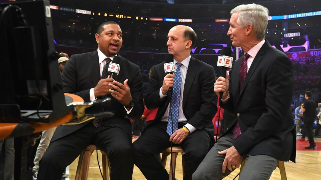 Apr 26, 2019; Los Angeles, CA, USA; ESPN broadcasters Mark Jackson (left) and Jeff Van Gundy (center) and Mike Breen during game six of the first round of the 2019 NBA Playoffs between the Golden State Warriors and the LA Clippers at Staples Center. Mandatory Credit: Kirby Lee-USA TODAY Sports