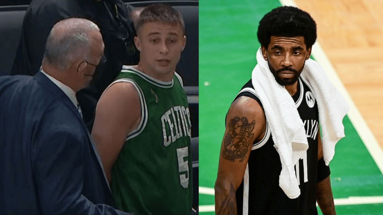 Boston Celtics fan arrested after throwing water bottle at Kyrie Irving after the game 4 loss to the Brooklyn Nets. May 30,2021