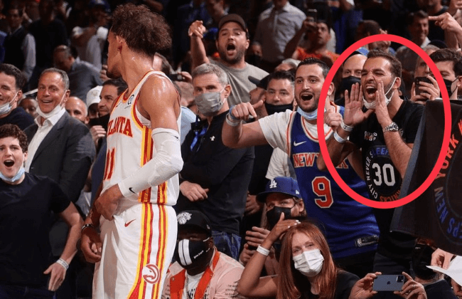 Fan who spat on Trae Young during game 2 of the playoffs between the New York Knicks vs Atlanta Hawks, May 26, 2021.