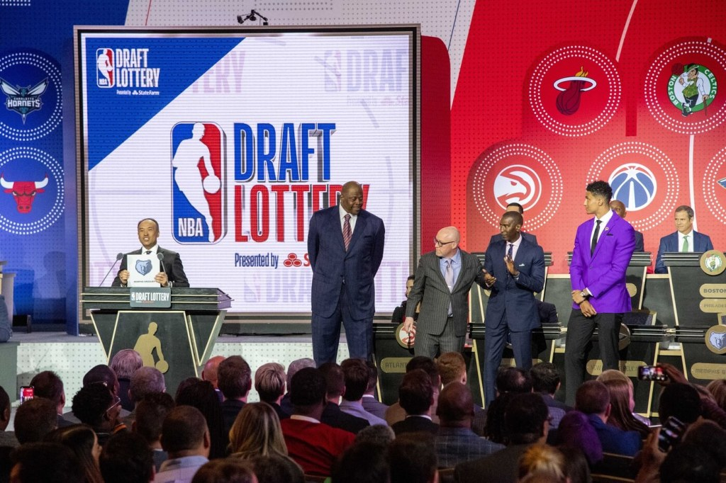 May 14, 2019; Chicago, IL, USA; NBA deputy commissioner Mark Tatum reveals the number two pick for the Memphis Grizzlies during the 2019 NBA Draft Lottery at the Hilton Chicago. Mandatory Credit: Patrick Gorski-USA TODAY Sports