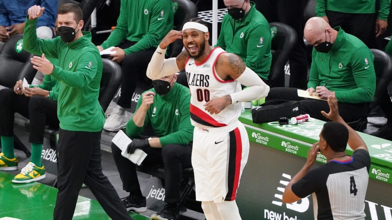 May 2, 2021; Boston, Massachusetts, USA; Portland Trail Blazers forward Carmelo Anthony (00) reacts after his three point basket against the Boston Celtics in the fourth quarter at TD Garden. Mandatory Credit: David Butler II-USA TODAY Sports