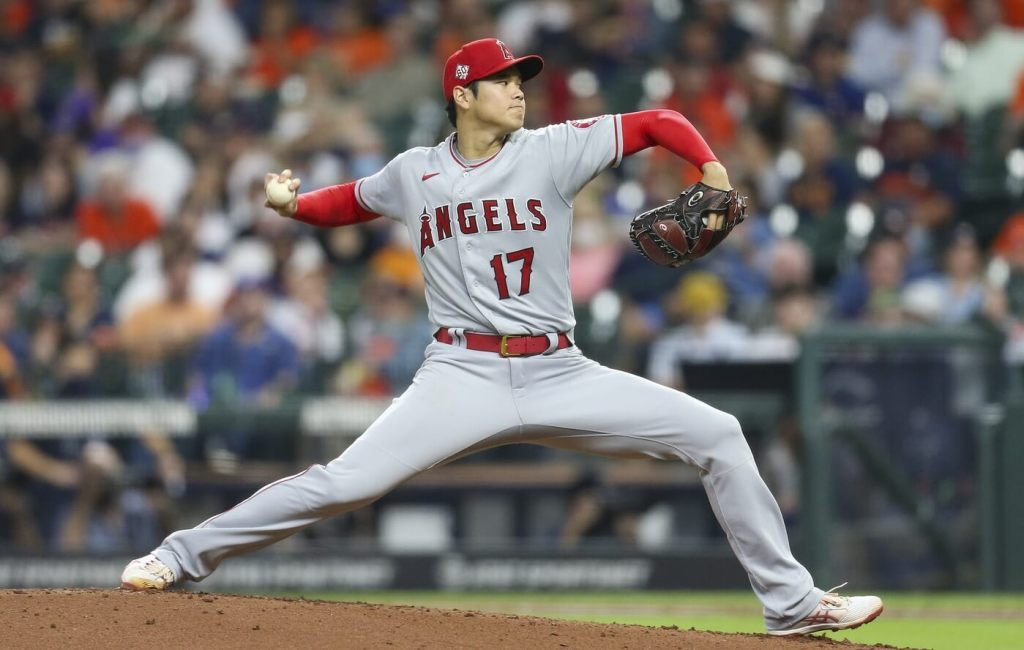 May 11, 2021; Houston, Texas, USA; Los Angeles Angels designated hitter Shohei Ohtani (17) pitches against the Houston Astros in the fourth inning at Minute Maid Park. Mandatory Credit: Thomas Shea-USA TODAY Sports